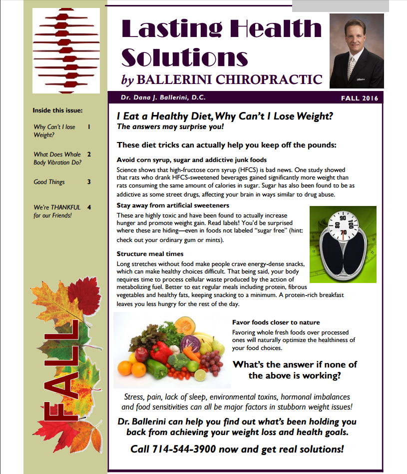 Ballerini Chiropractic Fall 2016 Newsletter Page 1
