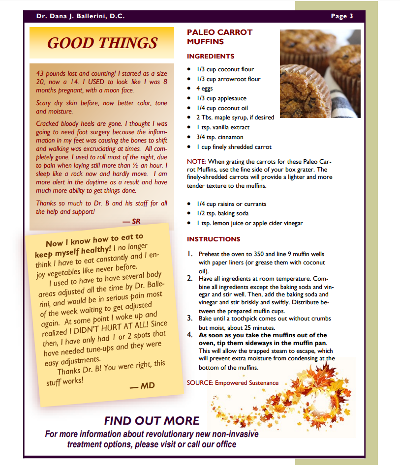 Ballerini Chiropractic Fall 2016 Newsletter Page 3