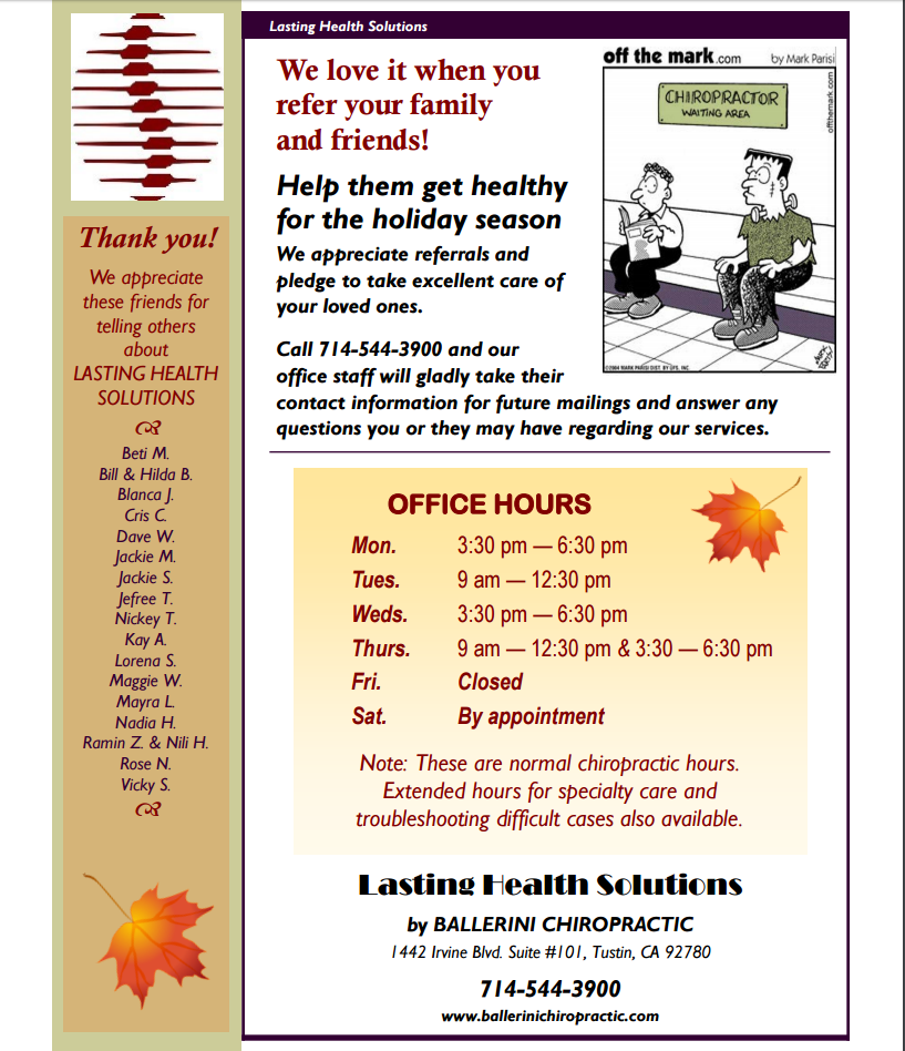 Ballerini Chiropractic Fall 2016 Newsletter Page 4